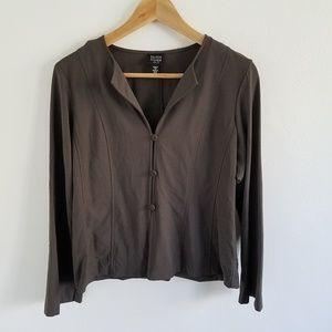 Eileen Fisher Wool Blend Button Down Shirt Top PM